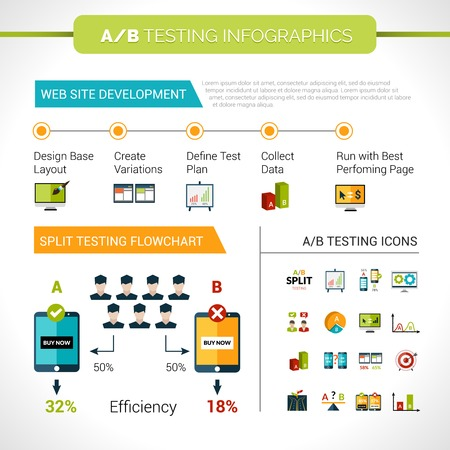A-b testing infographics set with web site development layout efficiency elements and charts vector illustration Illustration