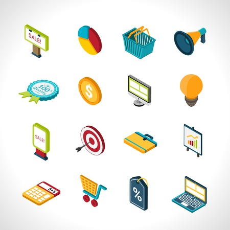 Marketing icons isometric with social communication research and advertising isolated vector illustration