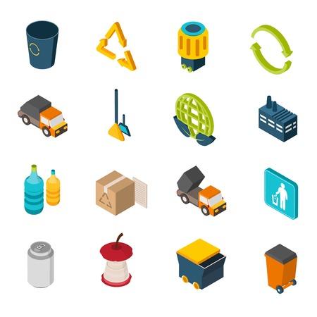 camion de basura: Iconos isom�tricos de basura se establece con la basura pueden reciclar s�mbolo y camiones aislados ilustraci�n vectorial