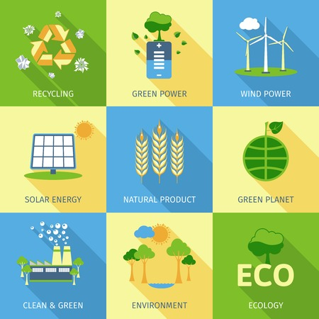 power plant: Ecology concept set with recycling green power wind and solar energy decorative icons isolated vector illustration Illustration