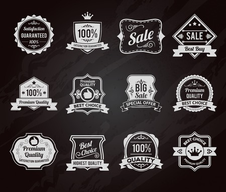 satisfaction guaranteed: Best choice premium quality goods sales chalkboard emblems icons collection with crown symbol graphic vector isolated illustration