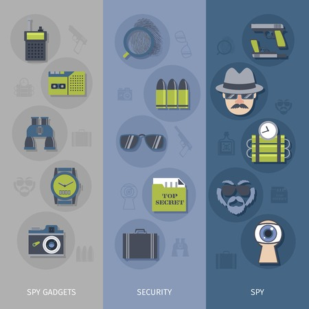 false: Spy gear accessories vertical banners set with false identity documents and mustache flat abstract isolated vector illustration Illustration