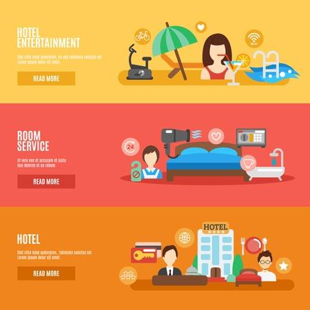 Hotel room service horizontal banner flat set isolated vector illustration