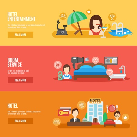 gym room: Hotel room service horizontal banner flat set isolated vector illustration