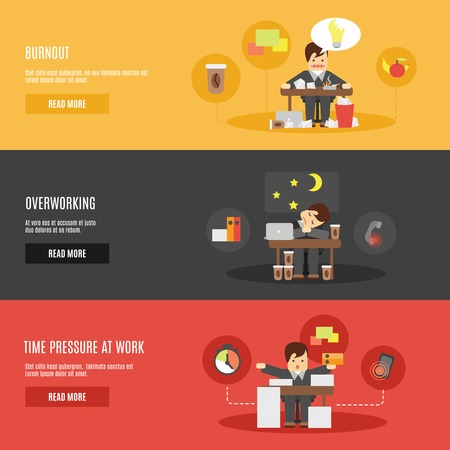 eating habits: Overworking cartoon office character time pressure at work burnout flat horizontal banners set abstract isolated vector illustration Illustration