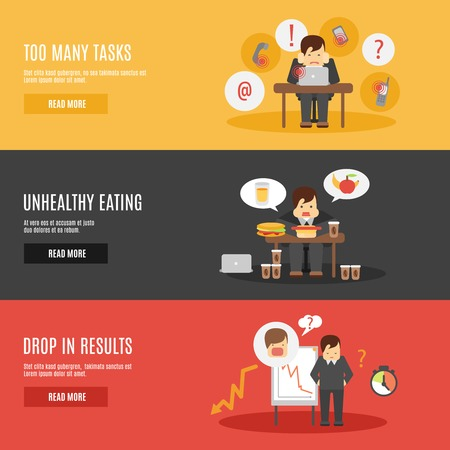 work stress: Missing deadline unhealthy eating man character multitasks work stress flat horizontal banners set abstract isolated vector illustration