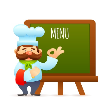 informational: Man restaurant chef cook with menu informational billboard vector illustration