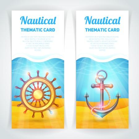 helm boat: Banner vertical Marino conjunto con símbolos aislados vela tarjeta temática ilustración vectorial