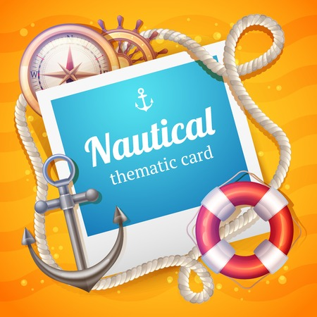 nautical vessel: Nautical card with marine and sailing symbols set and rope frame vector illustration