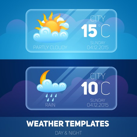 天気予報ウィジェット気象・気候モバイル アプリケーション ソフトウェアのレイアウト テンプレート ベクトル イラスト