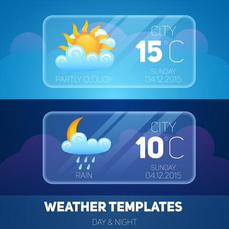 Weersverwachting widget meteorologie en klimaat mobiele applicatie software layout template vector illustratie Stock Illustratie