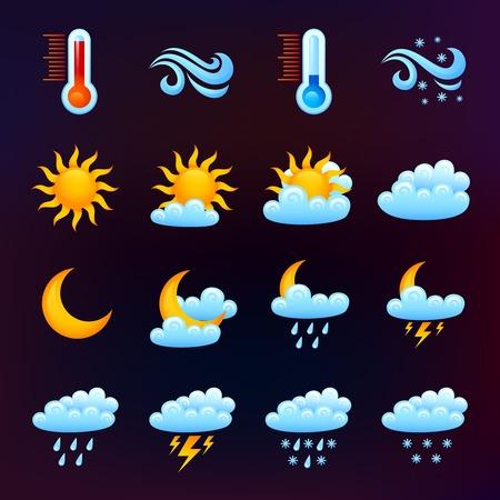 clima: Pron�stico del tiempo iconos decorativos establecidos en el fondo aislado oscuro ilustraci�n vectorial