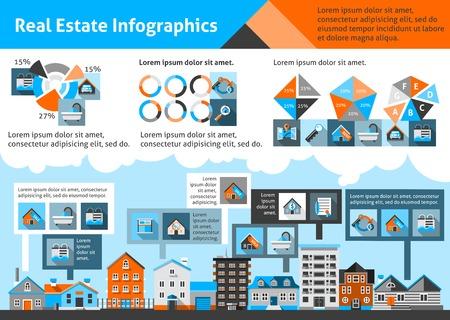 Infografía inmobiliarios establecen con símbolos de apartamentos propiedad comercial y gráficos ilustración vectorial