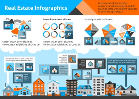 Real estate infographics set with commercial property apartment symbols and charts vector illustration Ilustracja