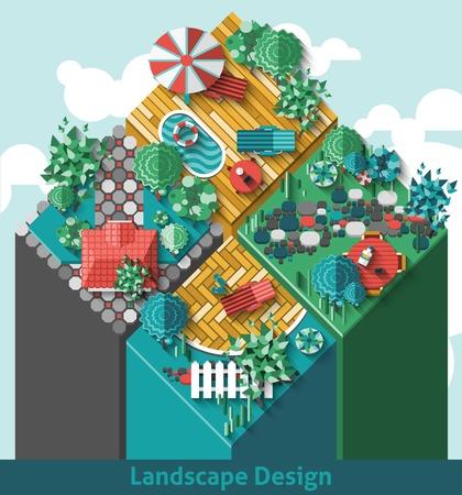 arbre vue dessus: concept de Paysage avec vue de dessus extérieur jardins éléments mis en illustration vectorielle