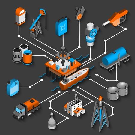 石油出荷および輸送シンボル ベクトル イラスト石油等尺性フローチャート装飾的な概念