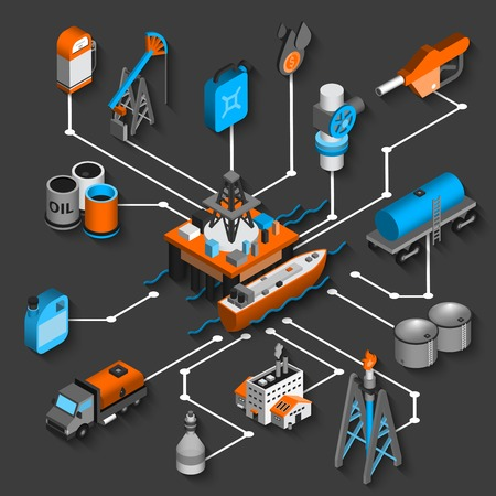 pozo petrolero: Petróleo organigrama isométrica concepto decorativo con el envío de petróleo y símbolos de transporte ilustración vectorial