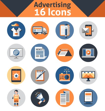 advertising media: Advertising media support marketing and promotion icons set isolated vector illustration