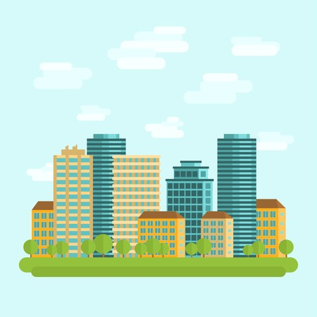 tall buildings: Modern city downtown green centre with tall buildings day skyline and clouds sketch abstract flat vector illustration