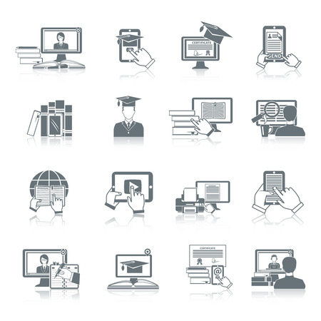 Online education icon black set with distance research digital tutorials and testing symbols isolated vector illustration Vetores
