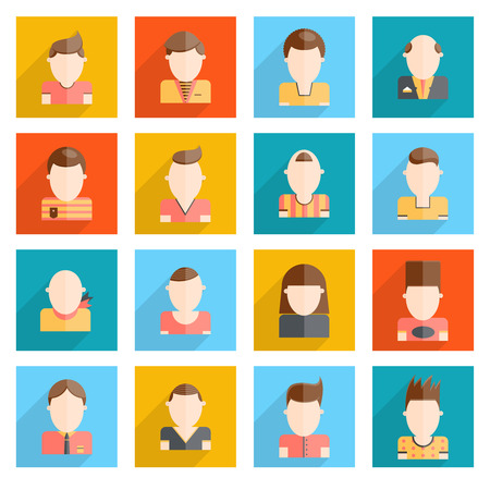 White man blank faces portrait collection icons set isolated vector illustration