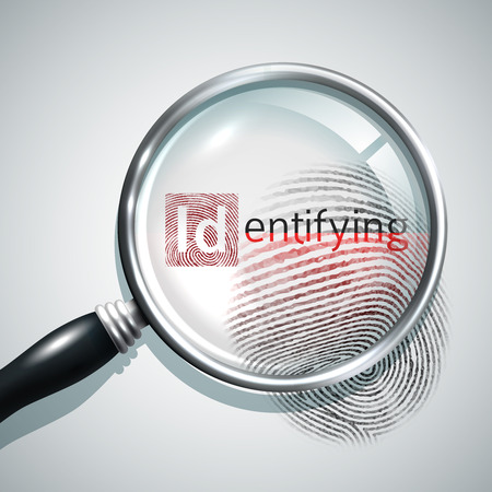 Fingerprint search concept with realistic magnifier glass person identifying concept vector illustration