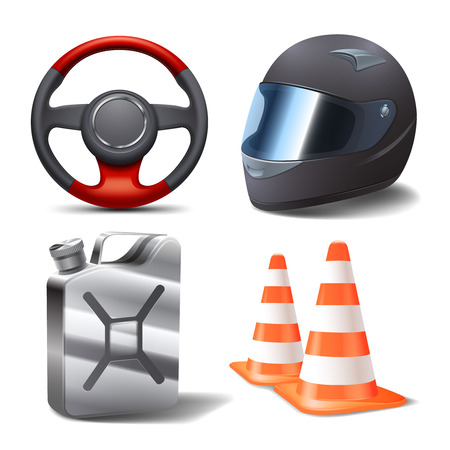 Car auto sport racing realistic icons set with steering wheel helmet gasoline can and cones isolated vector illustration