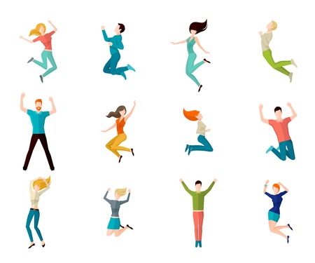 excitación: Salto arriba masculinos y femeninos personas avatar conjunto aislado ilustración vectorial Vectores