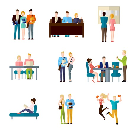 students in class: Student life set with classroom learning coffee break homework writing isolated vector illustration