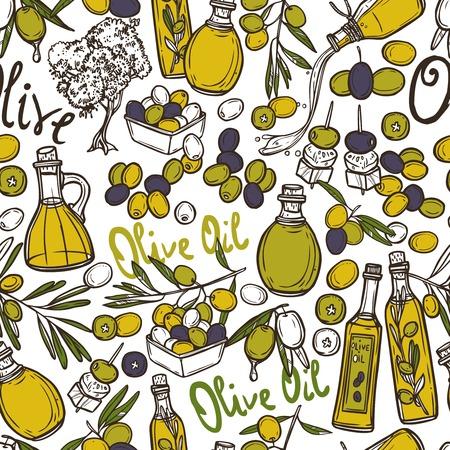 Olijf naadloos patroon met olie flessen biologisch voedsel en plantaardige takken vector illustratie