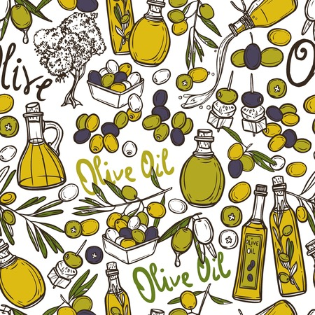olive oil bottle: Olive seamless pattern with oil bottles organic food and plant branches vector illustration Illustration