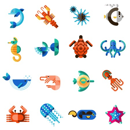 isolated object: Sea creatures underwater animal life set with dolphin seahorse fish crab isolated vector illustration Illustration