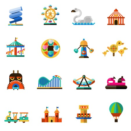 carnival: Family amusement recreational fun park decorative icons set isolated vector illustration