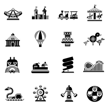 amusement park rides: Amusement park fairground games and attractions icons black set isolated vector illustration