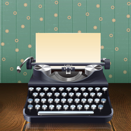 writer: Retro style realistic typewriter with paper sheet on wooden desk with wallpaper background vector illustration