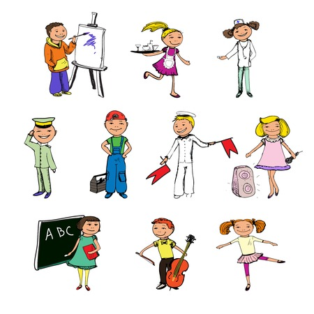 Children Boys And Girls Professions Colored Sketch Characters Royalty Free Cliparts Vectors Stock Illustration Image 37808986