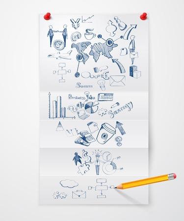 pushpins: Hoja de papel doblado con s�mbolos de negocios chinchetas e ilustraci�n vector l�piz
