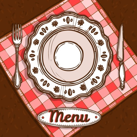 gourmet dinner: Menu poster with porcelain plate napkin and silverware sketch vector illustration Illustration