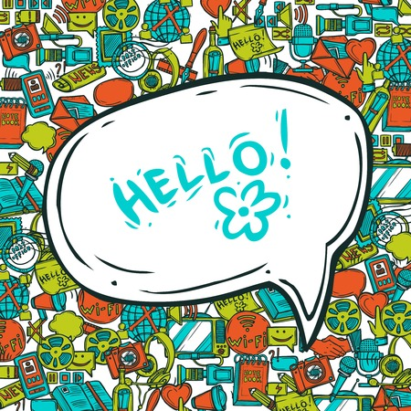 phone conversation: Communication concept with speech bubble and sketch conversation and media  elements vector illustration Illustration