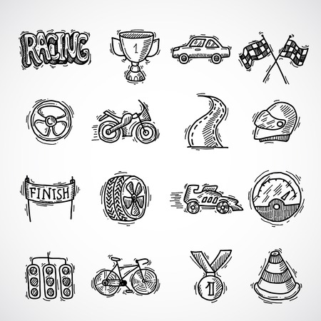 Racing auto competition sketch decorative icon set with bolide trophy finish isolated vector illustration