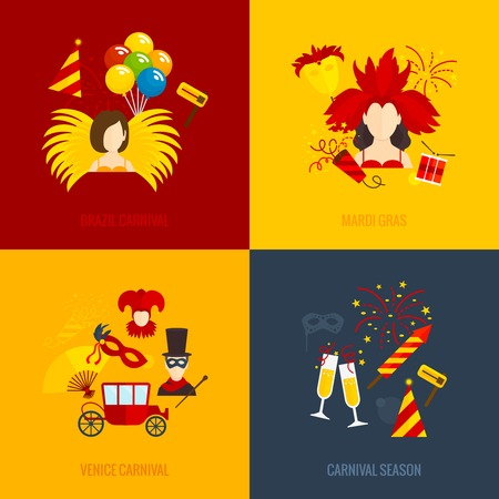 mascara de carnaval: Venecia del carnaval brasileño celebración tradiciones 4 iconos planos de composición temporada de carnaval abstracto ilustración vectorial aislado Vectores