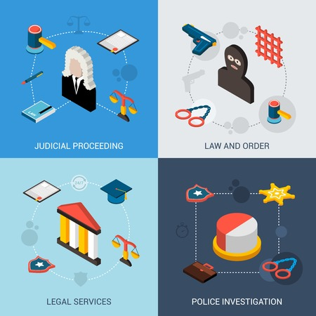 law and order: Law isometric set with judical proceeding legal services police investigation icons isolated vector illustration Illustration