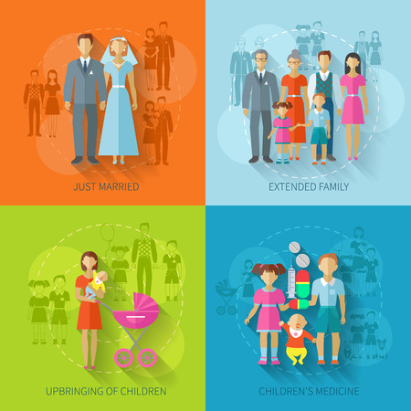 Family design concept set with just married children medicine flat icons set isolated vector illustration Illustration