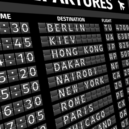 Airport electronic flip-flap board departure arrival and delay flight status information black digital display perspective vector illustration
