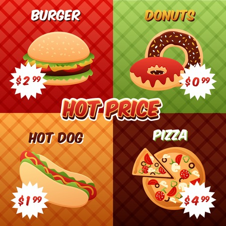Fast food mini poster set with burger donuts hot dog pizza promos isolated vector illustration