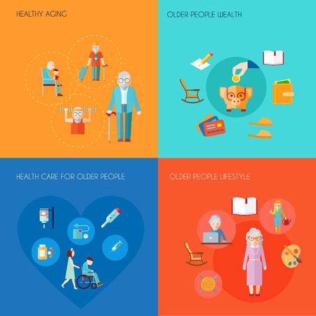 care: Senior lifestyle design concept set with healthy aging older people wealth old people health care flat icons isolated vector illustration Illustration