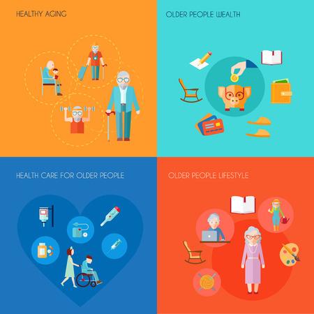 mujeres mayores: Superior concepto de dise�o de estilo de vida conjunto con los iconos planos envejecimiento mayor riqueza gente ancianos cuidado de la salud sana aislado ilustraci�n vectorial