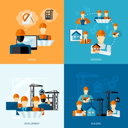 factory workers: Engineer design concept set with development and building flat icons isolated vector illustration