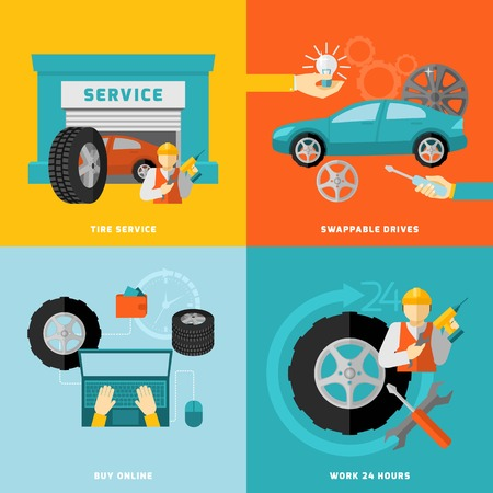 quality service: Tire service design concept with swappable drivers online buying 24 hours work flat icons isolated vector illustration