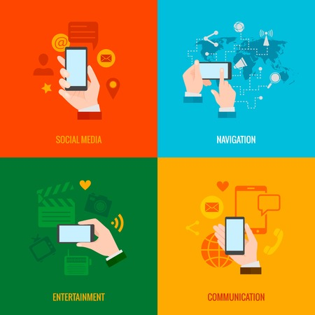 multimedia icons: Mobile hand phone navigation social networking and multimedia entertainment 4 flat icons set abstract isolated vector illustration